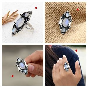 Rings Design For Girls Moonstone Blue Silver Fine